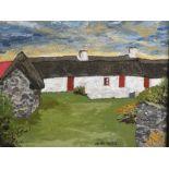 OWEN MEILIR oil on board (presumed) - white washed cottages below a sunset sky, 29 x 39cms