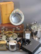 METALWARE - quantity of EPNS, ornamental brass, Picquot ware teapot, Barbola mirror, EPNS