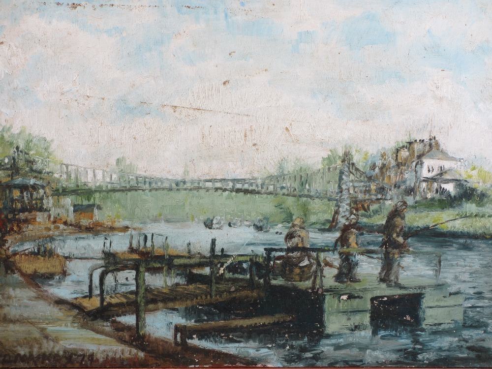 ALAN MACKAY - Chester river scene with suspension bridge, signed and dated '74 together with a - Image 2 of 4