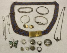 SILVER JEWELLERY - a mixed quantity, pair of 9ct on silver gent's cufflinks and a brass buckled