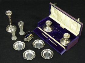 SILVER - HALLMARKED & OTHER ITEMS, a mixed quantity to include a cased mixed silver writing set of a