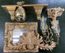 HOME FURNISHING- fancy, gilt framed mirror, shelves, lighting etc