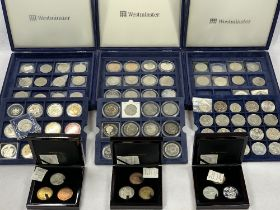 ROYAL MINT, WESTMINSTER & OTHER CROWNS & COLLECTABLE COINAGE including three sets William IV retro