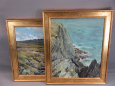 VAL LYNCH oils on board (2) - 'Off Point Lynas Anglesey', labelled verso, 50 x 39cms and 'From