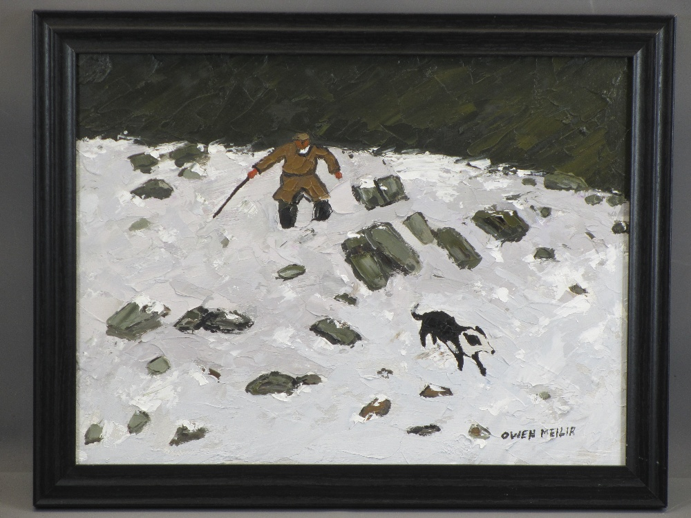 OWEN MEILIR oil on board - farmer on a snowy hillside with a dog, 29 x 39.5cms - Image 2 of 2