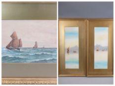 MARINE WATERCOLOURS, a collection - PARISH, BARNES, GRAHAM, ETC, 23 x 51cms the largest