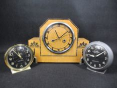 WESTCLOX BIG BEN REPEATER ALARM CLOCKS (2) and an Art Deco mantel clock, 23cms H, 31cms W, 11cms D