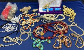 VINTAGE BEADWORK NECKLACES, Althorp cased fountain and ballpoint pen set and two miniature clocks,