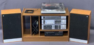 PIONEER HIFI SYSTEM ON TEAK CABINET with a pair of Mordaunt-Short Ltd speakers, PL-340 turntable,