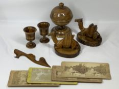 JERUSALEM OLIVE WOOD TREEN COLLECTION consisting of pedestal bull shape trinket box and cover, 14cms