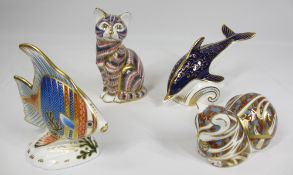 ROYAL CROWN DERBY PAPERWEIGHTS (4) - with gold stoppers, a dolphin, fish (with certificate) and