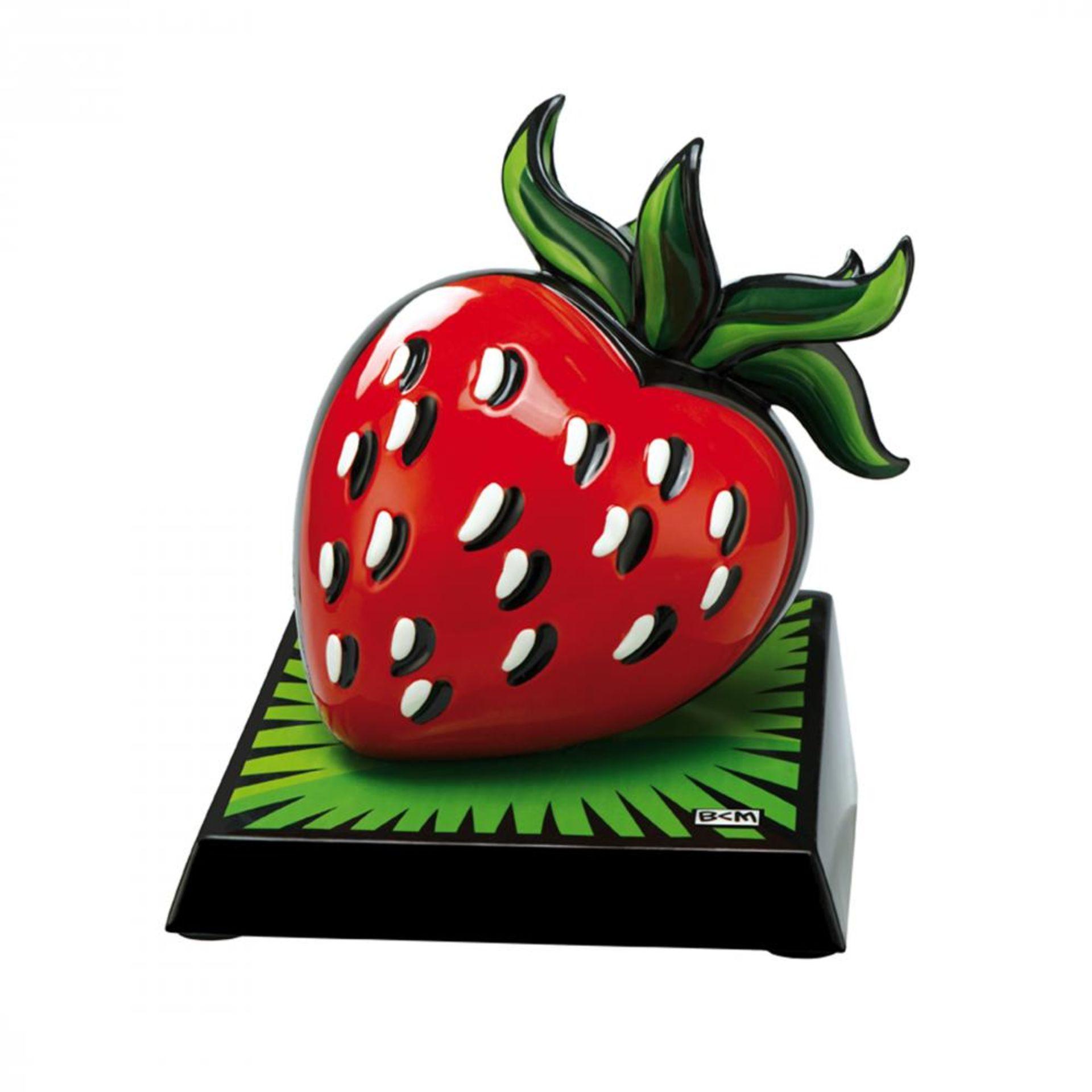 Burton Morris (*1964, Pittsburgh), US-Amerikanischer Künstler der POP-Art. Porzellan Erdbeere.