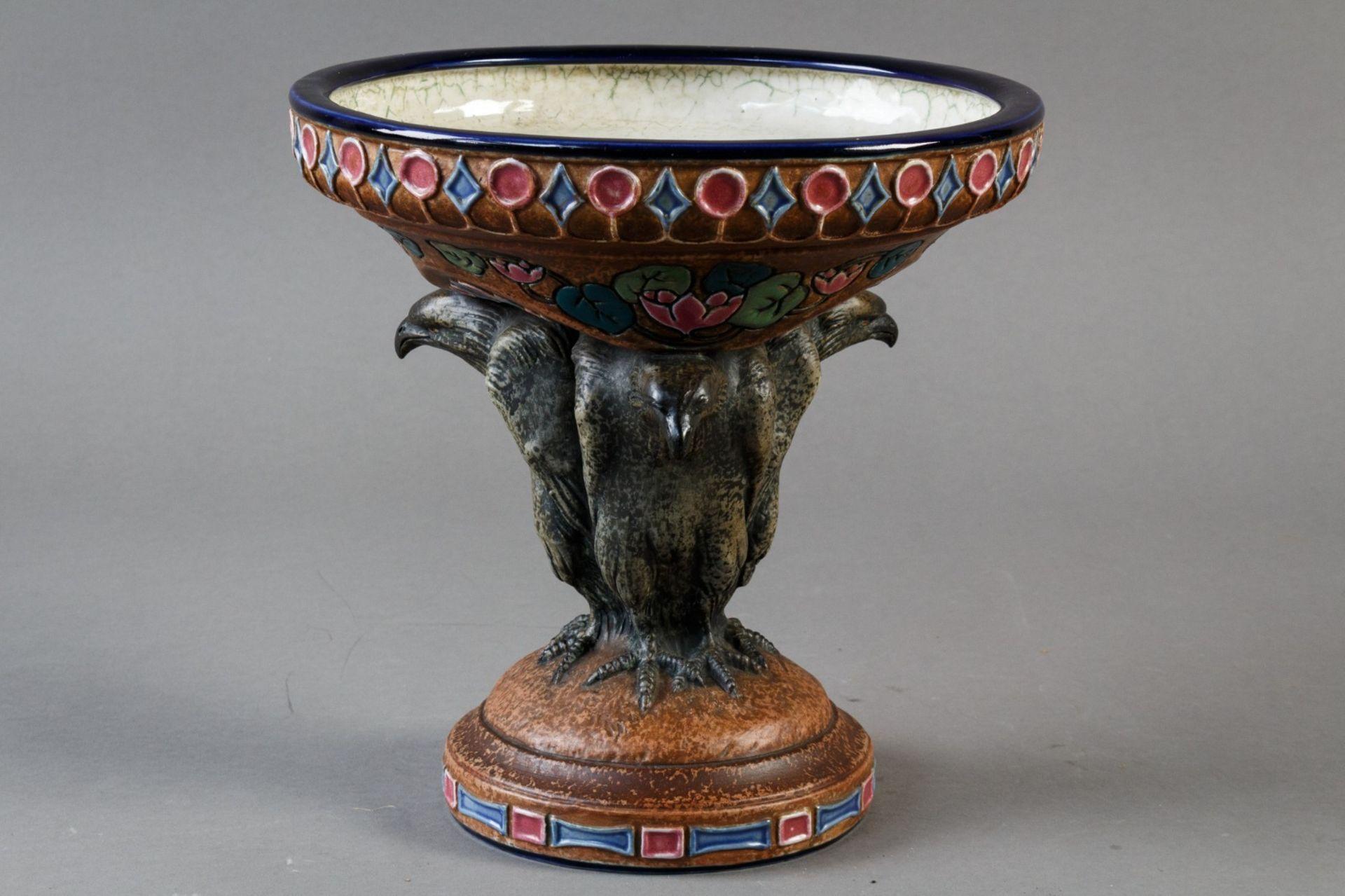 Amphora. Jugendstiletagere. Schale von drei Adlern getragen. Entwurf Max von Jungwirth. H. und Dm. - Bild 2 aus 3