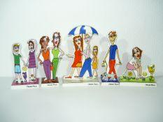 James Rizzi für Artis Orbis Editionen. Konvolut 5 Porzellanfiguren. Pop-Art. Auf der vorderen