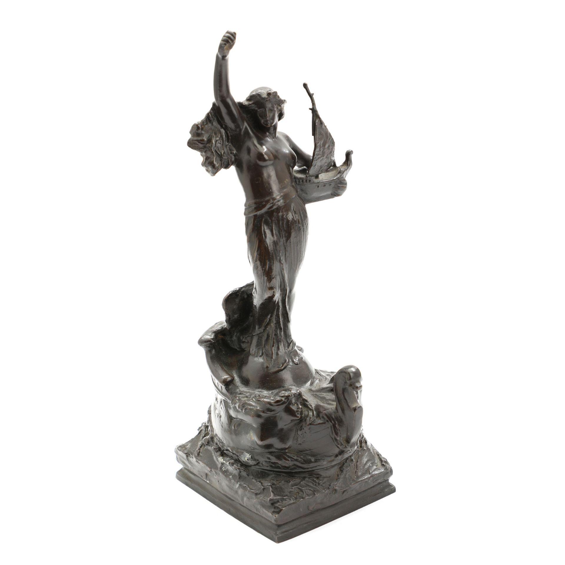 Unbek. Bildhauer. Darstellung einer Schutzpatronin der Seefahrer, evtl. Amanda. Patinierte Bronze.