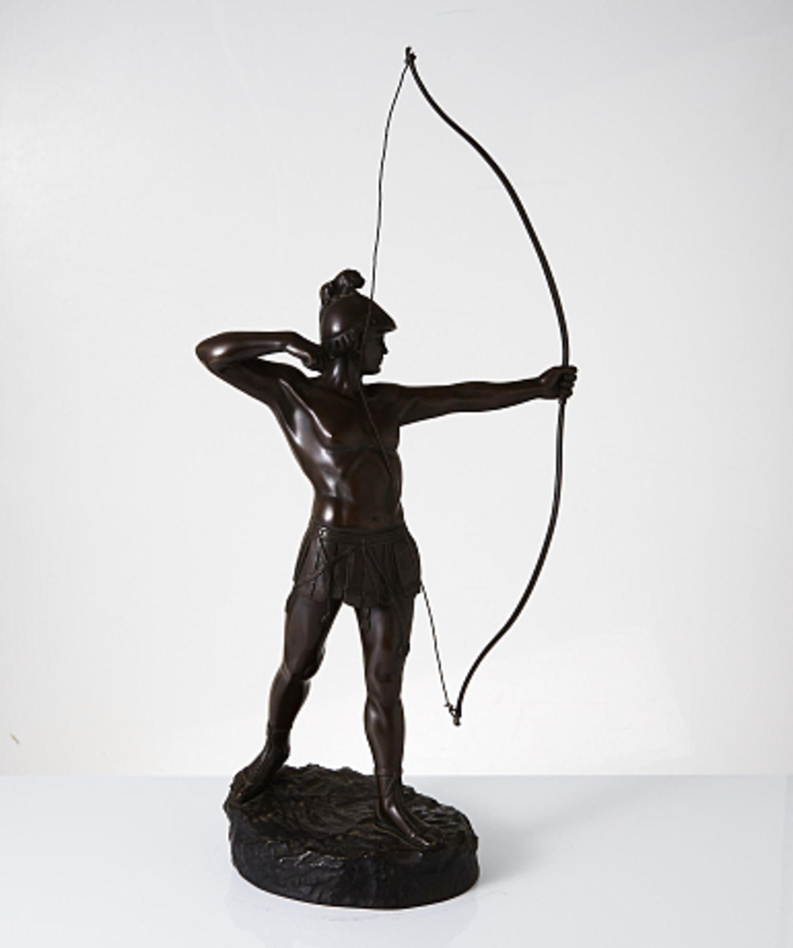 Gamboge. Stehender Bogenschütze. 1.H. 20.Jhdt. Bronze. In Plinthe sig. H. ca. 68cm. Altersspuren.