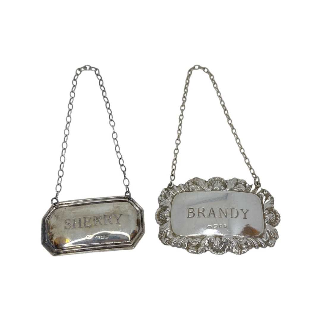 Silver Sherry And Brandy Labels