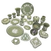 A collection of green Wedgwood Jasperware, including 6 dishes,