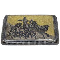 Russian Silver and Niello Snuff Box. 98 g. 84 mark and Makers mark 'MT'