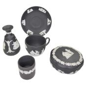 A collection of black and white Wedgwood Jasperware to include