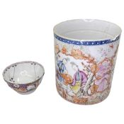 A rare 18th century Chinese Famile Rose tankard (damaged, missing handles)