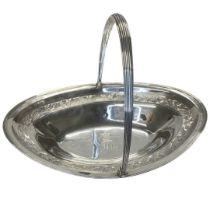 Large Georgian Silver Swing Handle Basket. 789 g. London 1815