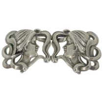 Rare and Unusual Art Nouveau Belt Buckle. Sterling, c 1901 probably American.