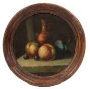 Verter. E. Früchtestillleben. Tondo. Rechts u. sign. Öl/ Hartfaser. Ø 22,5 cm.