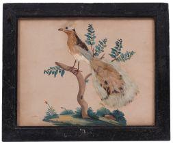 Federbild. Eger, 19. Jh. Aquarell auf Papier. Haubenlerche. Naturalistisch mit Federn beklebt