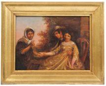 Unbekannt. 19. Jh. Darstellung einer Wahrsagerin. Öl/Holz H: 14,5 x 18 cm.