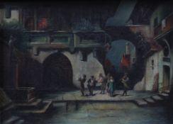 Deutsch, 19. Jh. Musikanten in mittelalterlicher Stadt. Öl/Lwd. H: 18 x 24 cm; Rahmen H: 44,
