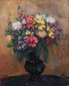 Unbekannt 20. Jh. Großer Blumenstrauß in Vase. Öl/Lwd. Links u. bez. Reiner. H: 84 x 68 cm