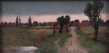 Unbekannt 19. Jh. Landschaft mit Pappeln. Öl/Holz Kleine Abplatzung. H: 12,5 x 24 cm. Rahme