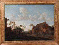 "Emanuel Murant. Amsterdam ca. 1622-1700 Leeuwarden. ""Dorfstrasse"". Rechts u. monogr ""EM"". Öl"