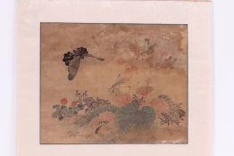 Paar Aquarelle. Japan, 19. Jh. Reiher und Vogelpaar. Farbige Malerei auf Japanpapier. Unter G