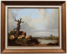 Bakjiuzen, Alexander H. 1826-1878. Pastorale Landschaft mit Kühen und Schafen bei der Rast.