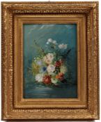 Battam, Thomas. Copeland 1810-1864. Paar Blumenstillleben. Üppig arrangierte Blumenbuketts a