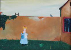 "Tolk, O. 1923 - Titel ""Im Garten"" Öl/ Holz. H: 18 x 25 cm. Rahmen. H: 30 x 38 cm."
