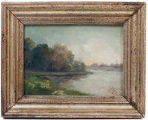 """Unbekannt 19. Jh. Seenlandschaft. Öl/Holz. Rechts u. Mongr. """"HJ"""". H: 18 x 42 cm. Rahmen."""