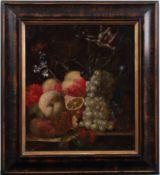 Unbekannt 18. Jh. Stillleben mit verschiedenen Früchten, Insekten und Blumen. Öl/Lwd. Doubl