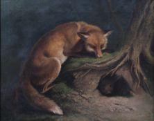 Unbekannt 19. Jh. Fuchs auf der Lauer am Kaninchenbau. Öl/Lwd. H: 48 x 60 cm. Rahmen H: 67 x