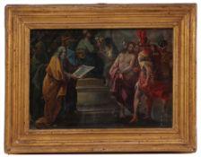 Italien, 18. Jh. Christus vor Pontius Pilatus. Öl/Lwd. Unter Glas. H: 17 x 25 cm. Rahmen. H: