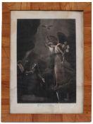 Biedermeier-Rahmen. 19. Jh. Nussbaum poliert, rechteckig. Glas. Min. besch. H: 70 x 53 cm.