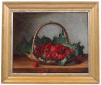 Unbekannt. 19. Jh. Stillleben mit Erdbeeren In einer Korbschale. Öl/Lwd. H: 24 x 29 cm. Rahm