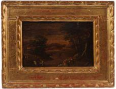 Paar Gemälde. Italien, 17./18. Jh. Zwei Landschaftsgemälde mit weitem Tal, Brücken und Fig