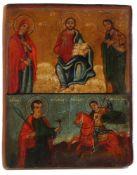 Ikone. Russland 19. Jh. Holz/ Tempera. Darstellung Christus und der Hl. Georg. H: 32,5 x 35,