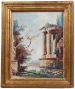 Robert, Hubert. Paris 1733-1808 ebenda. Ruinentempel in Landschaft. Aquarell auf Papier. Link