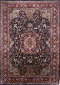 Wandteppich. Persien, 20. Jh. Ghom. Sammlerstück. Wolle und Seide. Blau, Türkis und wenig R
