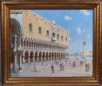 Lind, FC. Italien, 20. Jh. Dogenpalast in Venedig mit Campanile. Rechts u. sign. Öl/Lwd. H: