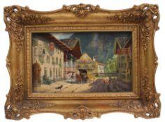 Rohrhirsch, Karl. München 1875-1954 Greding. Straßenszene mit Postkutsche in Partenkirchen.